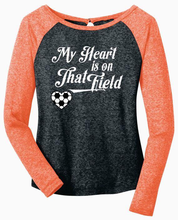 Soccer T Shirt Design Ideas soccer t shirt design idea My Heart Is On That Field Soccer Heart Long Sleeve Black Microburn Raglan Tee