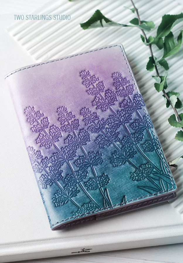 Personalized Leather Passport Cover, Lilac Blue Turquoise Passport Holder, Embossed Hand-painted, Lavender Flowers, Personalization Monogram