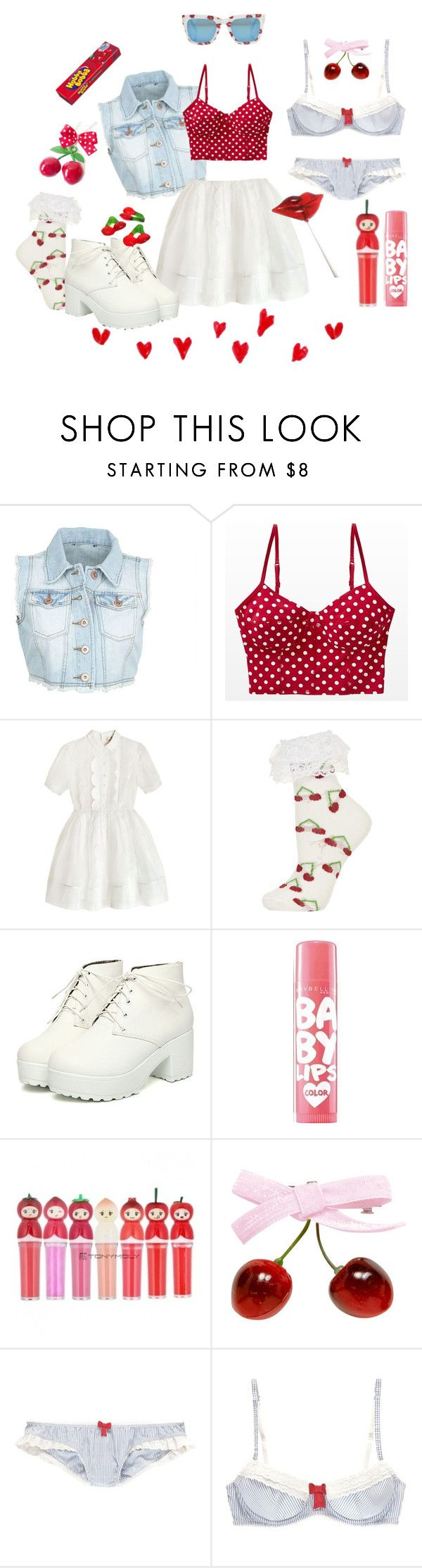 """""""Nymphets taste of cherry pie"""" by pinifera ❤ liked on Polyvore featuring To Be Adored, Topshop, Maybelline, TONYMOLY, Jack Wills and FRUIT"""