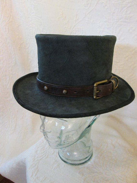 4ebd319b348 A Gray Suede Distressed One Of A Kind Leather Top Hat offered for your  wearing pleasure. A great addition to your current look or a costume  starter on its ...