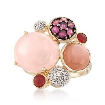 This ring offers an eclectic, vintage look for your modern-day collection. Opaque rose quartz, orange moonstone and red agates cluster with flickering rubellites, .35 ct. t.w., and .10 ct. t.w. of pave diamonds. 18kt yellow gold over sterling silver ring. Free shipping & easy 30-day returns. Fabulous jewelry. Great prices. Since 1952.
