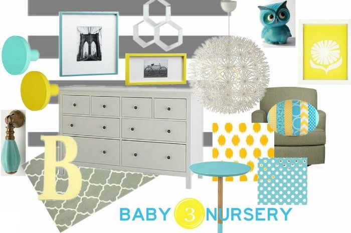 Grey, Turquoise, Yellow Nursery. |  View From The Fridge