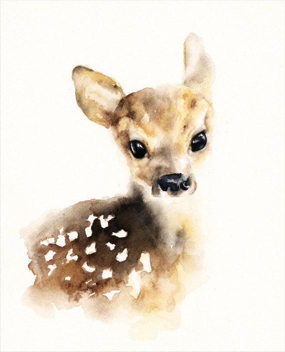 Sweet Fawn Watercolor Print. Comes in an easy to frame, standard size of 8x10 or…