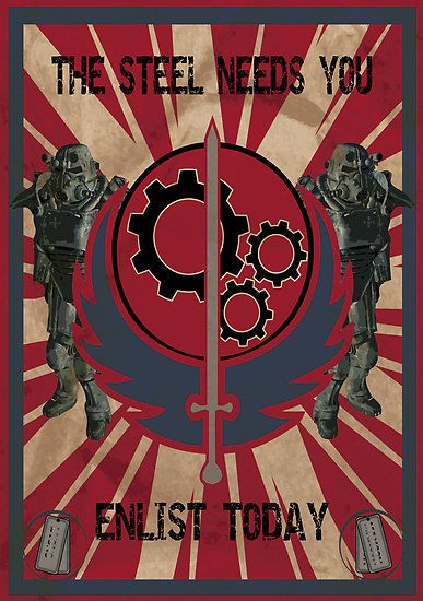 Brotherhood of Steel Propaganda poster from the Fallout universe. Video games, geek, Fallout, print, nerd.