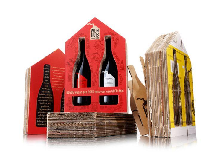 """Winehouse """"Wijnhuis"""" расшифровывается какхорошее вино, вхорошем доме наблагое дело. Голландская инициатива отместного винного эксперта идизайнерского агентства.  Первый выбрал хорошее, экологически чистое, вино. Дизайнеры сделали оформление бутылки иупаковки. Дляизготовления упаковки используется гофрокартон отстарых винных коробок. Этоблаготворительный проект, вино иупаковка производится друзьями инебольшими компаниями, априбыль будет направлена вамстердамском фонд…"""