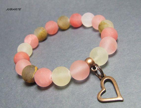 QUARTZ & HEART Stretch bracelet Gemstone bracelet Pink by JUBIARTE