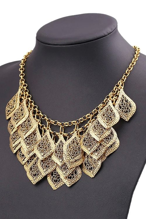 Multi-Layered Leaf Tassel Necklace