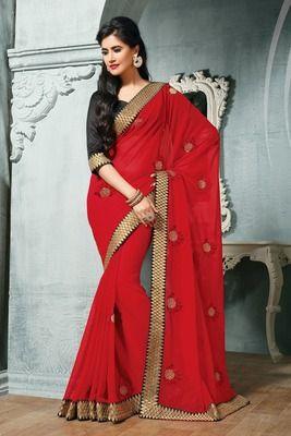 Chiffon embroidery saree plus embroidery border