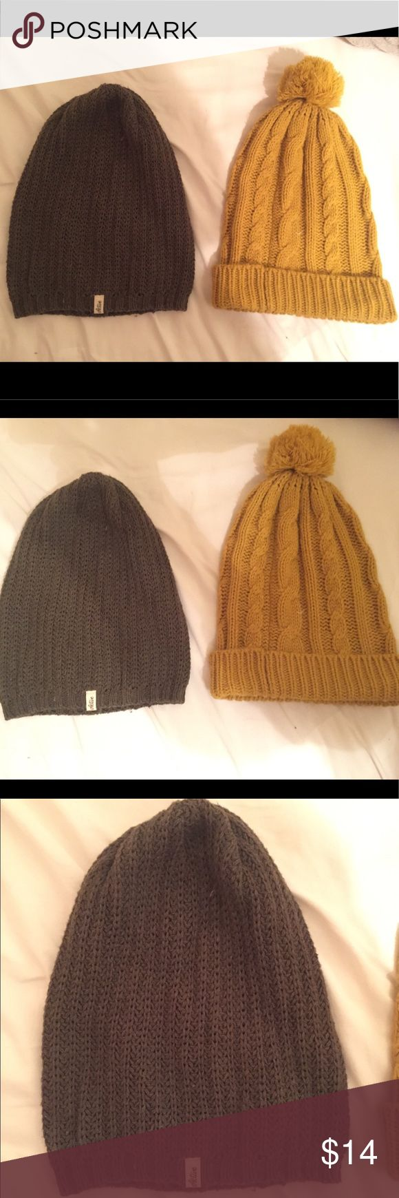 Beanie Bundle! Two floppy knit wool beanies! One is mustard yellow with a Pom-Pom accent and a cable knit design. The other is from Active Ride Shop and is army green with an Active logo at the bottom. Active Ride Shop Accessories Hats