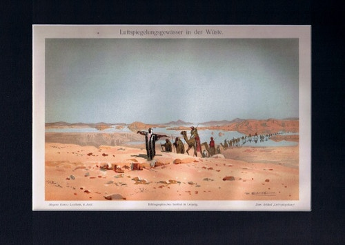 Antique Print Desert Mirage Air-Reflection-Waters Germany Meyers 1905 $14.99