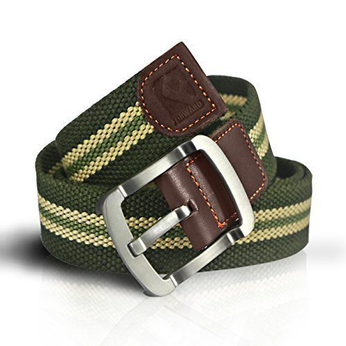 Mens Canvas Belts Military Green Stripe Waist Belt Tactical Nylon Webbed 110cm #MensCanvasBelts