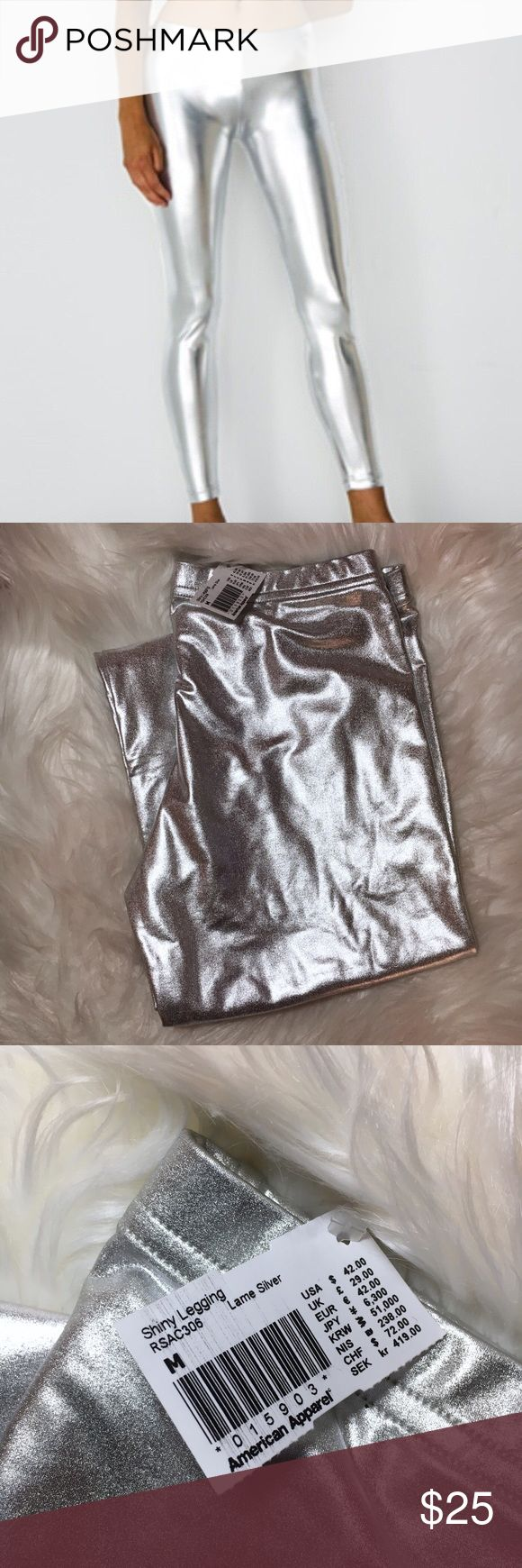 American Apparel Silver Lamé Leggings, NEW Brand new with tags. This material starts to stick to itself when folded and there are tiny marks on the back as pictured. Really hardly visible though! American Apparel Pants Leggings