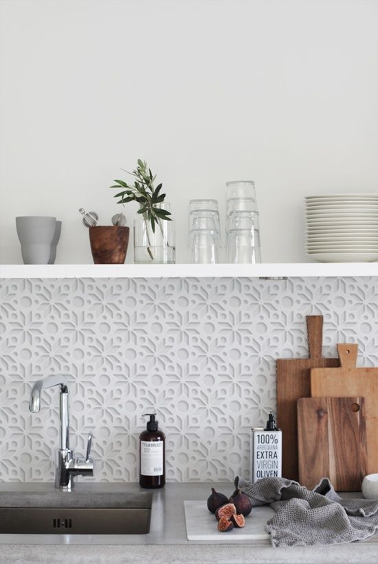 WHITE 3D 1405 kitchenwalls backsplash wallpaper