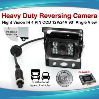 4PIN Heavy Duty 12/ 24V CCD IR Colour Reverse Reversing Camera Rearview 90 angle