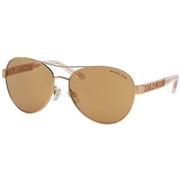 Women's Michael Michael Kors Cagliari Aviator 60MM Sunglasses Rose Gold (1,280 HKD) found on Polyvore featuring accessories, eyewear, sunglasses, rose gold, michael kors sunglasses, rose gold aviator sunglasses, rose gold aviators, tortoise shell sunglasses and tortoiseshell sunglasses