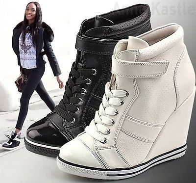 Women's Black Fashion Sneakers AnnaKastle New Womens High