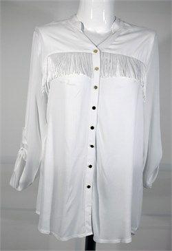 Püskül Detaylı Uzun Kollu Beyaz Gömlek