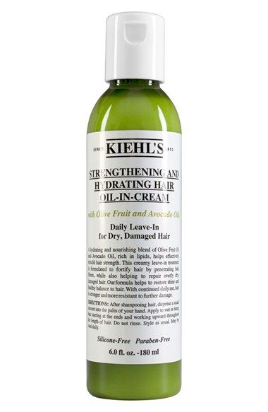 Free shipping and returns on Kiehl's Since 1851 Olive Fruit Oil Strengthening and Hydrating Hair Oil-In-Cream at Nordstrom.com. A unique oil within a cream nourishes and strengthens dry, damaged hair. Clinically proven to reduce breakage up to 75% with olive fruit and avocado oils three times the concentration of traditional conditioners. Hair is left fortified and smooth.How to use: Apply daily to damp hair after shampooing and do not rinse. Style as normal.