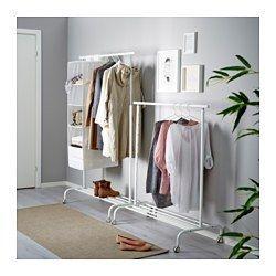IKEA - RIGGA, Garderobenständer,  , , Die Höhe lässt sich durch einfaches Festklicken 6fach auf den jeweiligen Bedarf einstellen.Auf dem Gitterrost unten ist Platz für Kästen oder 4 Paar Schuhe.