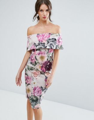 Vestido midi con escote bardot con pliegue ancho y estampado floral de ASOS