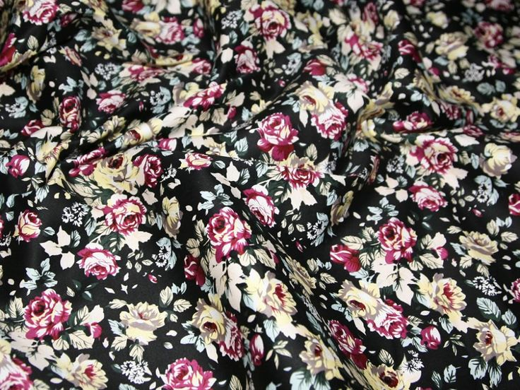 Black & Multi Vintage Floral Print Stretch Cotton Dress Fabric | Fabric | Dress Fabrics | Minerva Crafts