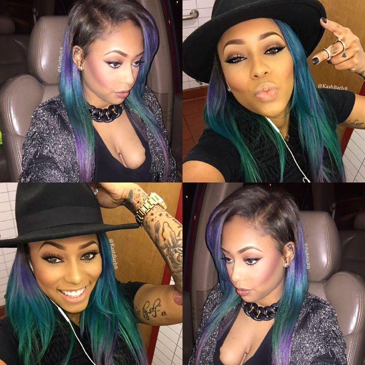Green Blue Purple Straight Ombre Hair Weave Hairstyle Black Beauty Women Caramel Dope Fashion Statement Trend Swag Pretty Kashbarb Instagram