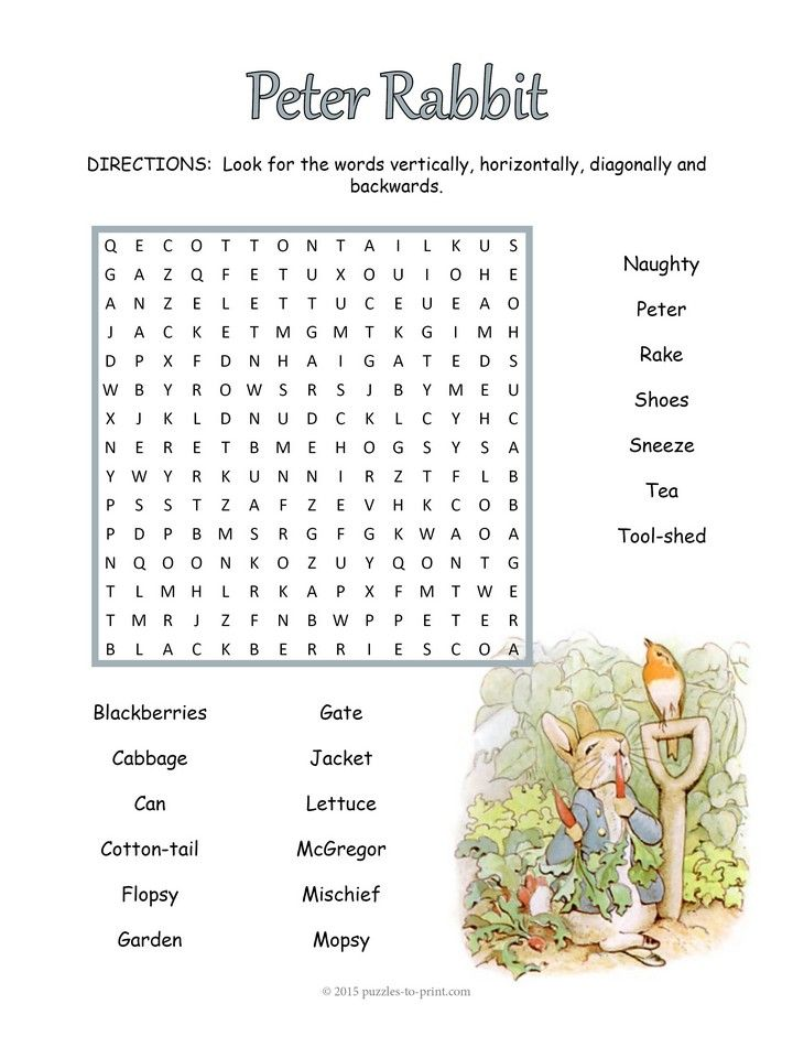 Enjoy this free word search puzzle based on Beatrix Potter's classic The Tale of Peter Rabbit.  Find the 19 hidden words.