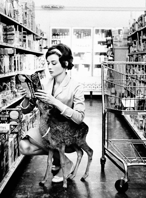 Audrey Hepburn grocery shopping with her deer, photographed by Bob Willoughby, 1958.