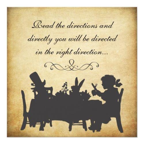 Tea Party Birthday Invitations Vintage Alice in Wonderland Tea Party Birthday Card