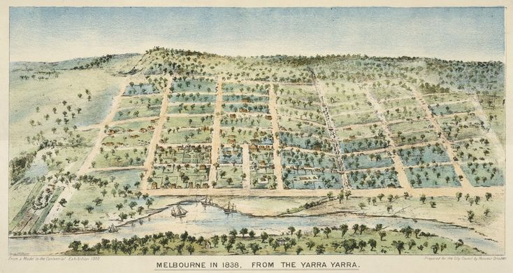 Melbourne 1838 from the Yarra Yarra