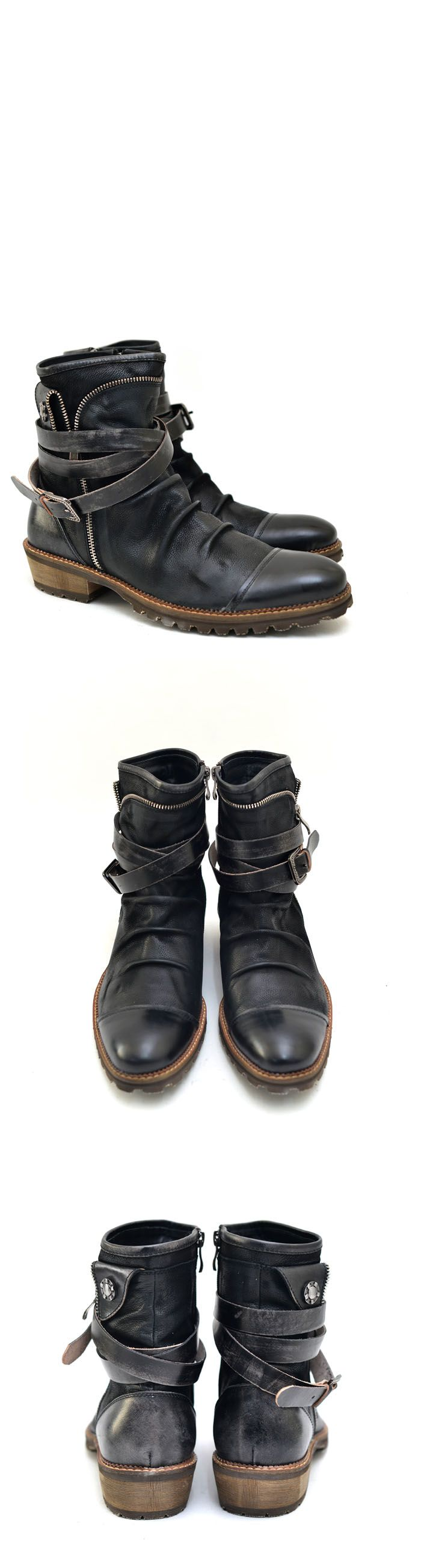 Shoes :: Vintage Belted Wrinkle Biker Boots-Shoes 382 - Mens Fashion Clothing For An Attractive Guy Look