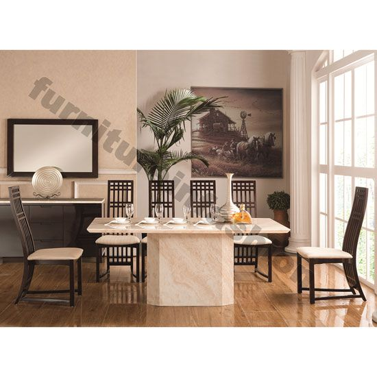 Dining Room Sets 6 Chairs White Metal Folding Granite Contemporary Table Seater Marble A Pinterest And