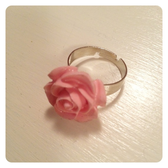 Pink Resin Rose Ring with Adjustable Silver by catsandwhiskers, $12.00