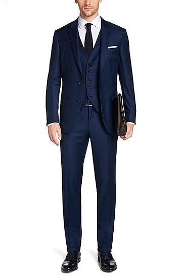Slim-fit suit in new wool: 'T-Harvers1Glover1 WE2', Dark Blue