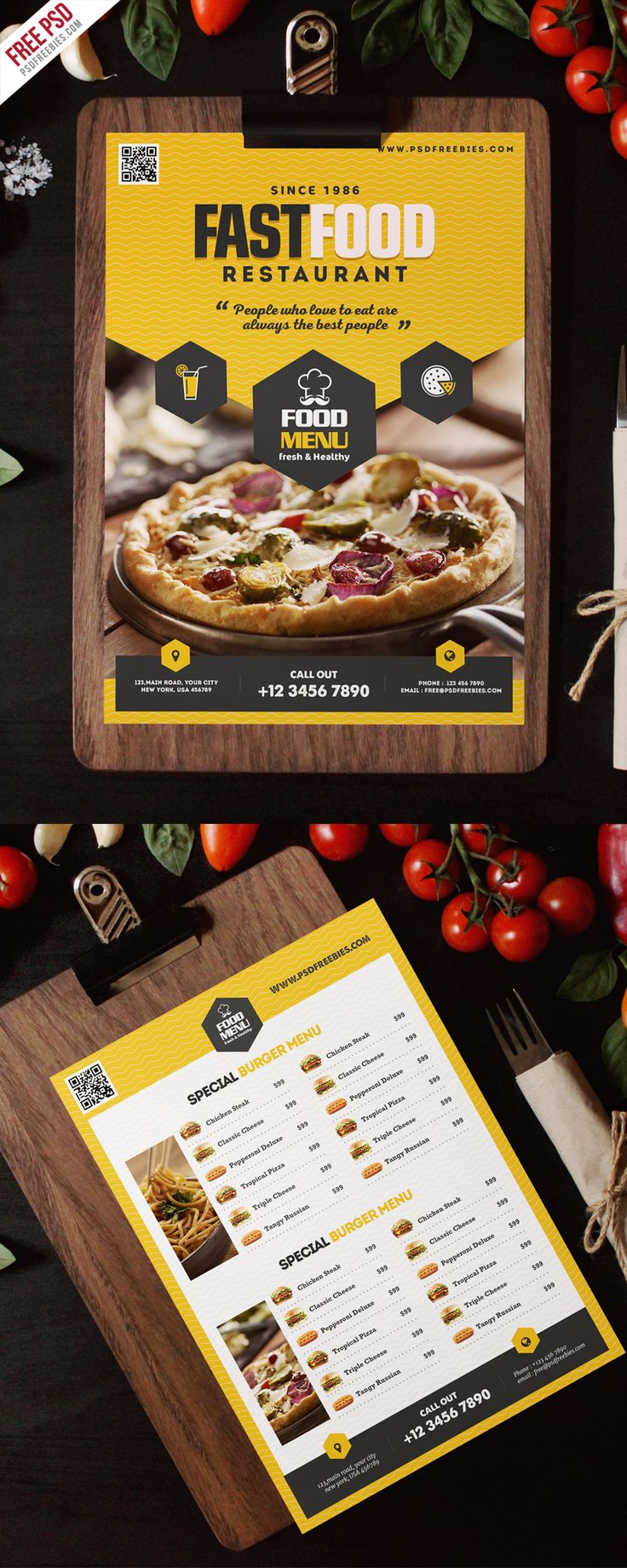 Download Free Fast Food Restaurant Menu Flyer Template PSD. This Restaurant Menu Flyer Template PSD is suitable for fast foods Restaurant, Bakery Cupcakes, Bread Shop, restaurants,Food and Catering Business, Cuisine, bar, Cafe, and many more. All main elements are customizable and easy to edit font, text, color, fully adobe photoshop format.