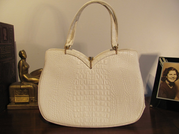 Rosenfeld White Croc Leather Handbag Very Mad by