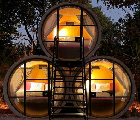 Totally Tubular TubeHotel In Mexico Offers Up Accommodations In Recycled Concrete Pipes....Looks like a ~Bee Hotel for people....