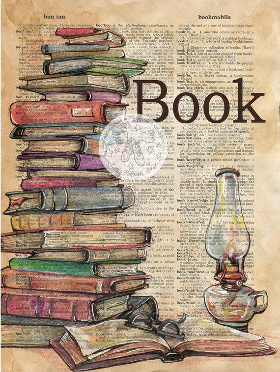 7 x 9 Druck von Original, Mischtechnik, Zeichnung auf beunruhigt, Wörterbuch Diese Zeichnung von einem Stapel Bücher ist in Sepia-Tinte gezeichnet und erstellt mit Pastell und Farbige Stifte auf einer beunruhigt Seite aus einem Wörterbuch, das beinhaltet die Definition Buch. Diese Seite