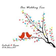 Wedding Boom DIY Gepersonaliseerde Vogel Gedrukt Handtekening Gastenboek Canvas Feestartikelen Bruiloft Decoratie + 2 Stempelkussen(China (Mainland))