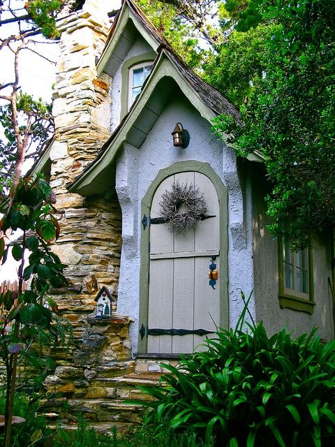 """Front door from """"The Doll House,"""" one of Hugh Comstock's original fairytale 'Hansel' (i.e., """"Hansel & Gretel"""") cottages by the sea in Carmel, California 