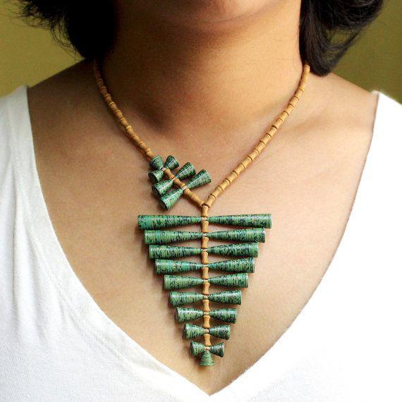 Fern necklace - 1st anniversary gift - First anniversary gift - Paper bead jewelry - Green necklace - Paper, Green, Brown, Fern, Leaf
