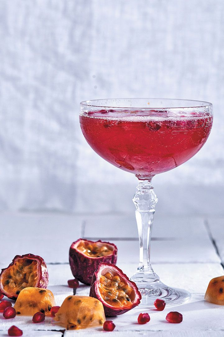 This granadilla, rose and pomegranate sparkling cocktail only takes 10 minutes to make and is the perfect drink for a Valentine'ss Day dinner for two.