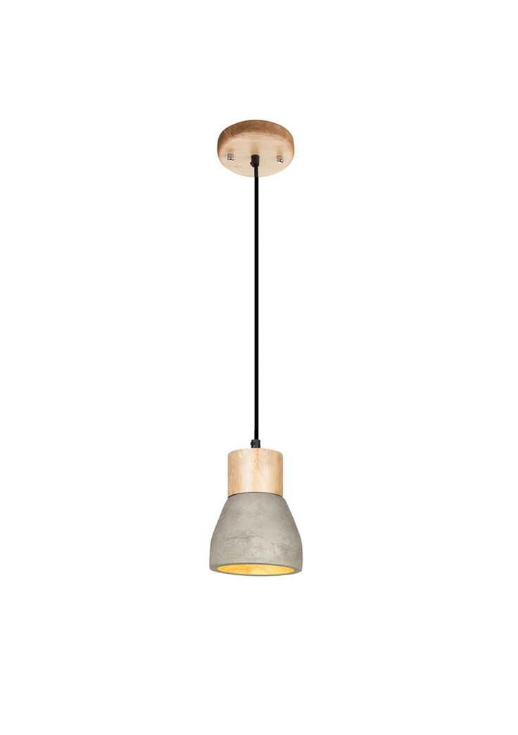 A stylish concrete and wood pendant, perfect for bedsides. Bulb not…