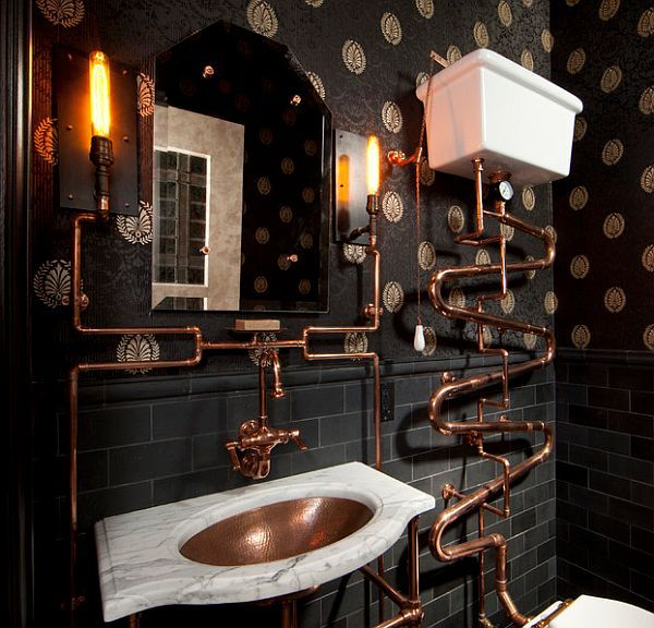 Steampunk Interior Design Ideas. This is an awesome bathroom. Nuff said... #interiordesign  #steampunk