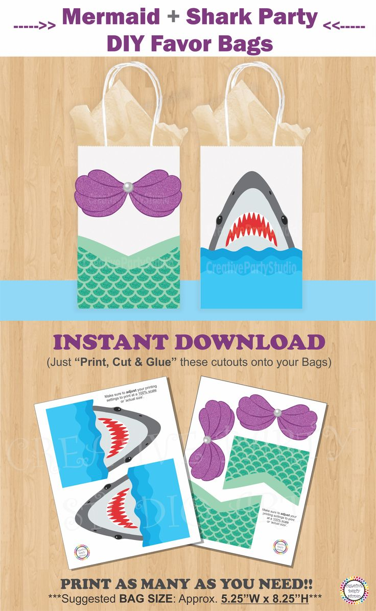 Mermaid and Shark Party Favor Bags/ Mermaid Shark Birthday Party ideas/ Little Mermaid Party theme decorations/ Mermaid Party favors/ Girl Pool Party ideas/ Under the Sea birthday Party/ double/ split/ twins party theme Ideas/ Mermaid treat/ goodie/ goody/ gift/ loot/ candy bags/ Mermaid birthday cake/ Mermaid Party Supplies/ Mermaid invite/ mermaid invitations/ Pirate Party/ Shark party/ Mermaids pool party/ Mermaid party banner/ labels/ fiesta sirena/ sirenita/ mermaid tail/ festa sereia…