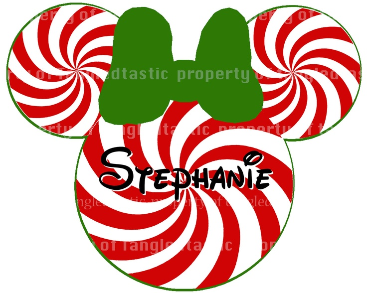 Minnie Candy Cane Christmas PIY Santa Claus DIY Iron Printable Appliqué Disney Vacation Shirt Minnie Mouse. $5.00, via Etsy.