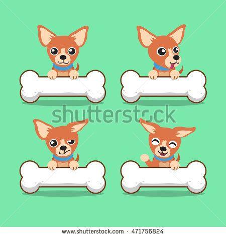Cartoon character brown chihuahua dog with big bones