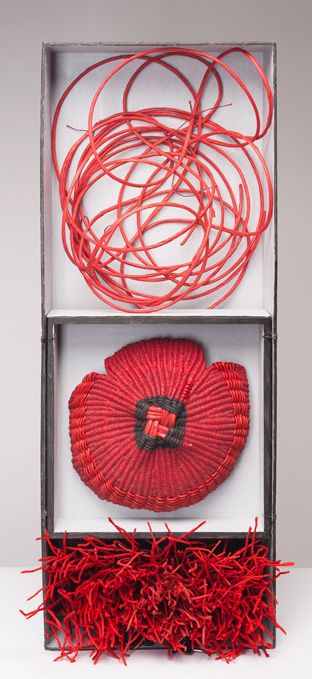 Charlotte Thorp, Three Ways of Being (Red),Paper spokes, waxed linen thread, hand-made Japanese shifu, leather cord, binders' board box,