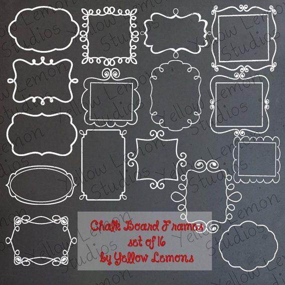 INSTANT DOWNLOAD- Chalk Board Frames PNG files Digital Scrapbook