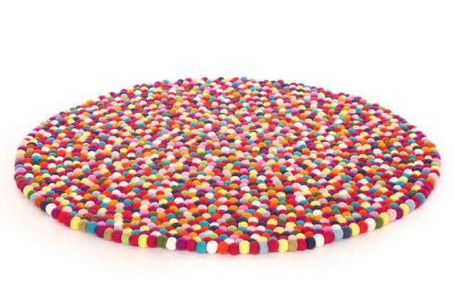 Large original Larry felt ball rug